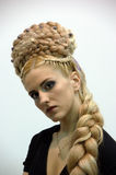 Model with a long plait Royalty Free Stock Photography