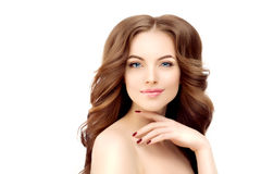 Model with long wavy hair. Waves Curls Hairstyle. Hair Salon. Up Royalty Free Stock Photos