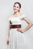 Model in long white dress Royalty Free Stock Photography