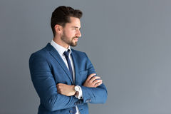 Model look in distance, side profile image. Elegant male model look in distance, side profile image royalty free stock images