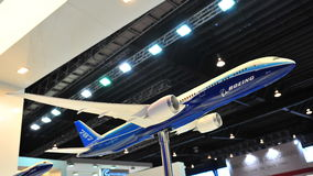 Model of low emission and fuel efficient Boeing 787 Dreamliner on display at Singapore Airshow 2012 Stock Photos