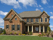 Model Luxury Home Exterior front view clouds Stock Photos
