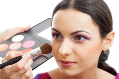 Model make up applying blusher isolated Royalty Free Stock Image