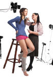 Model and the make-up artist Stock Photography