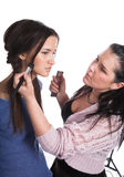 Model and the make-up artist Royalty Free Stock Photography