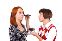 A model and a make-up artist Royalty Free Stock Photos