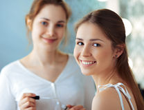 Model and make-up artist stock images