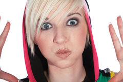 Model makes funny grimaces Stock Image