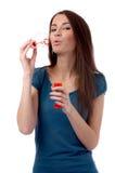 Model makes soap-bubbles Royalty Free Stock Photos
