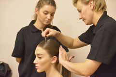 Model during makeup application Stock Photography
