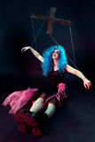 Model with makeup in form of marionette doll on dark background Stock Photos