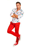 Model man in floral shirt Royalty Free Stock Images