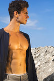 Model man with sculpted pecs Royalty Free Stock Images