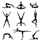 Model man silhouette yoga gymnastics recreation Stock Photos