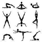 Model man silhouette yoga gymnastics recreation stock photos