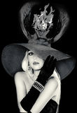 Model  in a masquerade hat Stock Images
