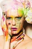 Model met creatieve make-up stock afbeelding