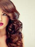 Model met dicht, krullend haar Helft-gezicht portret royalty-vrije stock afbeeldingen