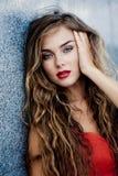 Model met rode make-up Royalty-vrije Stock Fotografie