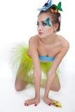 Model met vlinder bodyart Stock Afbeelding