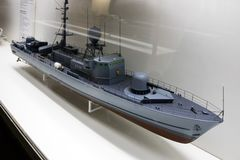 Model of a military or naval gunboat Royalty Free Stock Photo