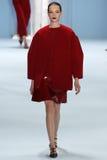 Model Mina Cvetkovic walks the runway wearing Carolina Herrera Fall 2015 Collection Royalty Free Stock Photography