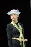 Model in modern blue felt hat Stock Photo