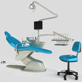Model of modern dental chair. 3D illustration. Model of modern dental chair. Image on white background. 3D illustration Vector Illustration
