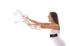 Model money. Shot of a model catching flying money stock photos