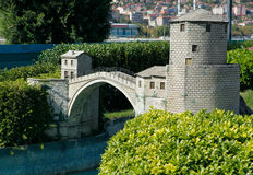 Model of Mostar Bridge. In Miniaturk Park which contains miniature models of famous structures from Istanbul,Anatolia and Ottoman territories that today lie Royalty Free Stock Photography