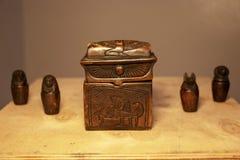 Set of Egyptian mummification artifacts royalty free stock images