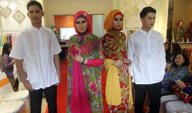 A model of Muslim wear during the fashion show Muslims in a bati Stock Photos