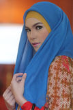 A model of Muslim wear during the fashion show Muslims in a batik outlets Royalty Free Stock Images