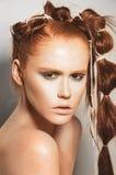 model naturligt för makeup Arkivfoto