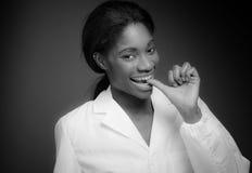 Model nervous biting nails Stock Photo