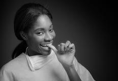 Model nervous biting nails Stock Photography