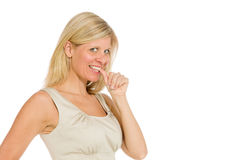 Model nervous biting nails Royalty Free Stock Images