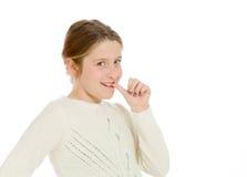 Model nervous biting nails Royalty Free Stock Photo