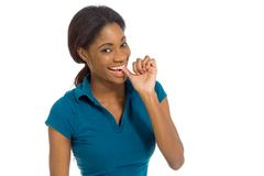 Model nervous biting nails Royalty Free Stock Photo