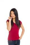 Model nervous biting nails Stock Photos