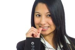 Model nervous biting nails Stock Images