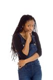 Model nervous biting nails. Model isolated on plain background in studio nervous stock photography
