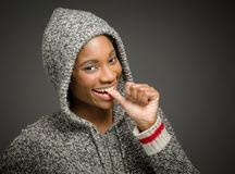 Model nervous biting nails Stock Photography