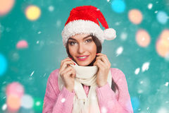 Model in New Year hat Royalty Free Stock Photos