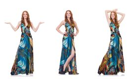 The model in nice dress isolated on white Royalty Free Stock Photos