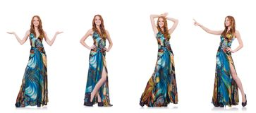 The model in nice dress isolated on white Royalty Free Stock Photo