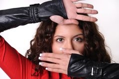 Model with no finger leather gloves Stock Image