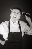 Model odizolowywający na białym goofing sfałszowanym nożu Zdjęcie Royalty Free