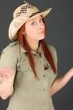 Model odizolowywający na prostym tle intrygującym Fotografia Stock