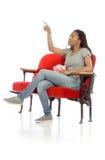 Model odizolowywam z powrotem wskazywać Fotografia Stock